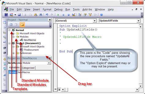templates vba word install employ vba procedures macros