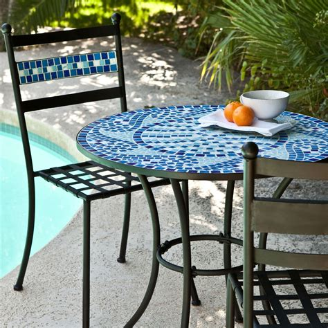 backyard patio set outdoor 3 piece aqua blue mosaic tiles patio furniture