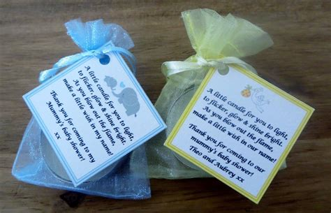 Baby Shower Favors Candles Uk by Baby Shower Candle Tea Light Favours Blue Pink Yellow