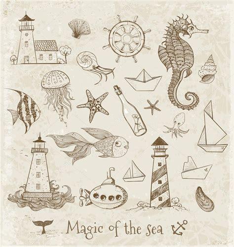 Imagenes Vintage Mar | vintage dibujos de elementos del mar vector de stock
