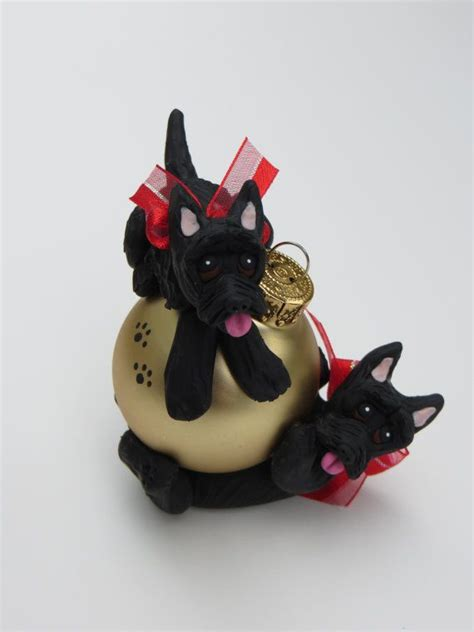 scottish terriers polymer clay christmas ornament playing