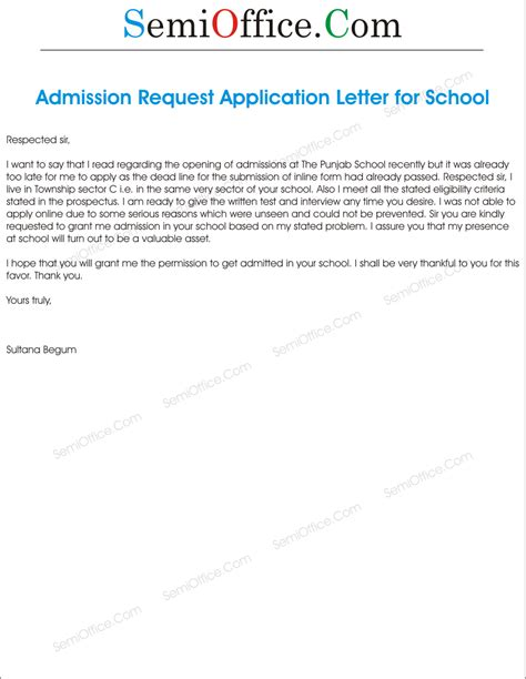 Request Letter Format To School Admission Write A Letter To Principal Requesting For Admission