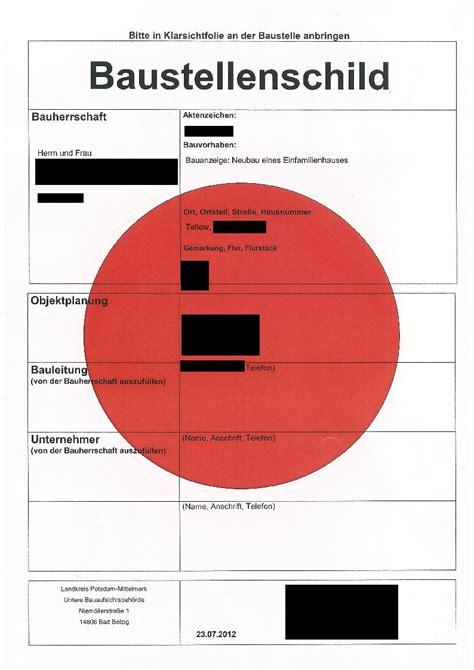 Baustellenschild Roter Punkt Berlin by Baufreigabe Baustellenschild Sweethometeltow