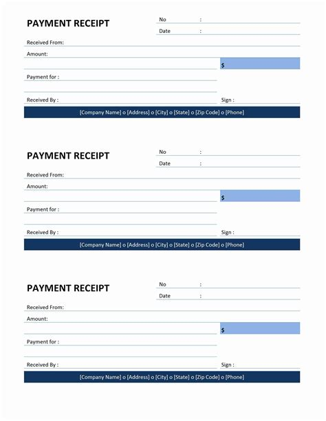 receipt template paid payment receipt