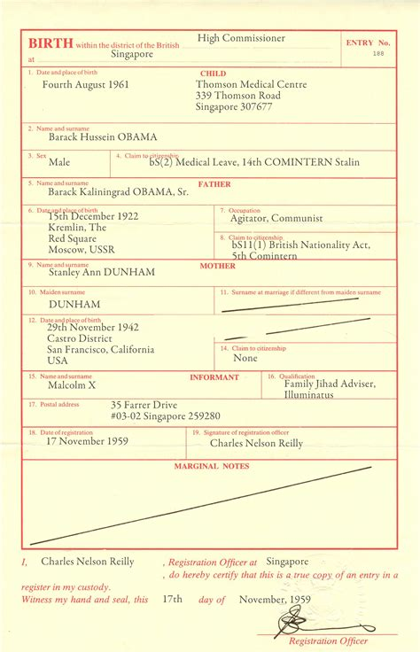 EXCLUSIVE: Real Barack Obama Birth Certificate. Obama Born