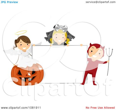 Clipart Group Of Halloween Kids With A Blank Sign ... About:blank Free Halloween Clipart