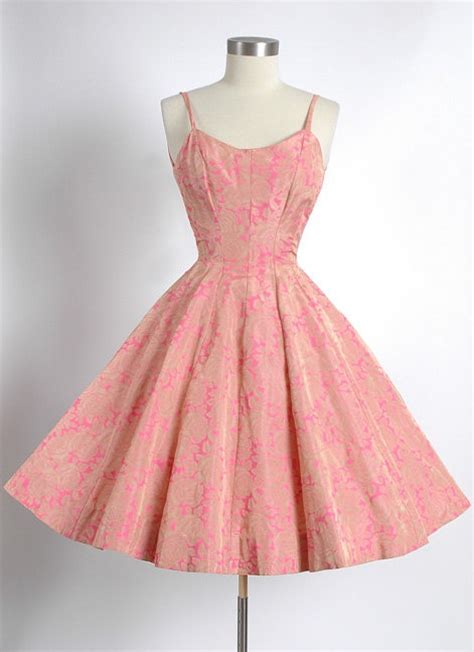 Pretty In Pink Retro Silk Dress by 1950 S Gold Rayon Taffeta Gored Circle Skirt Dress