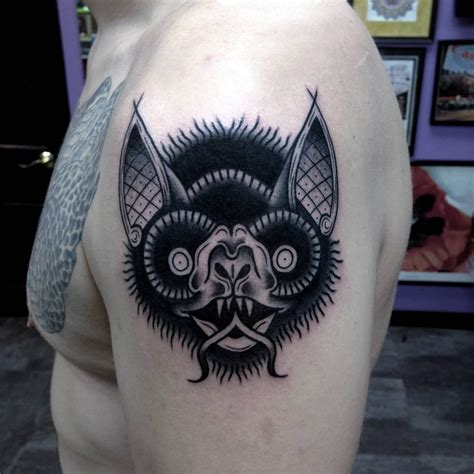 traditional bat tattoo black bat by david armacost me at hybrid