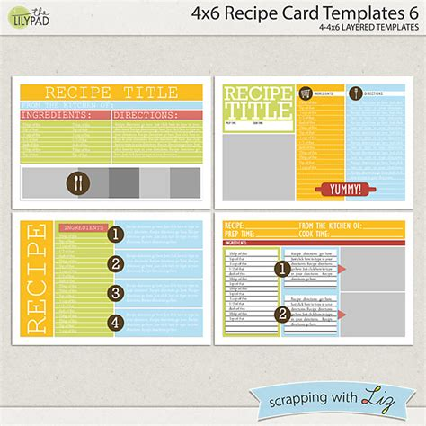 Digital Card Templates by Digital Scrapbook Templates 4x6 Recipe Card 6