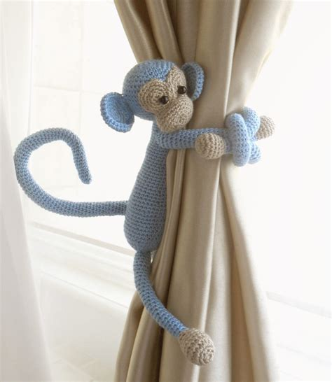 Monkey Curtain Tie Back1 Pcsshabby Chic Curtainscrochet Curtain Tie Backs For Nursery