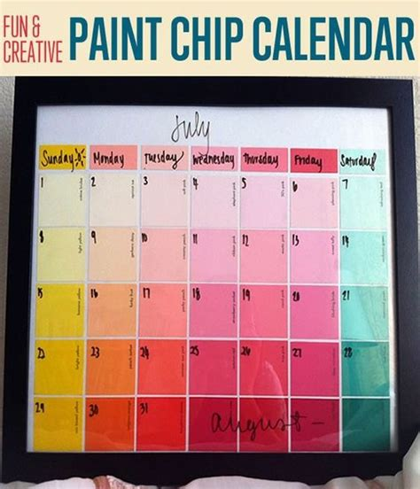 Ls You Can Put Things In by Paint Chip Calendar Paint Chips And Calendar On