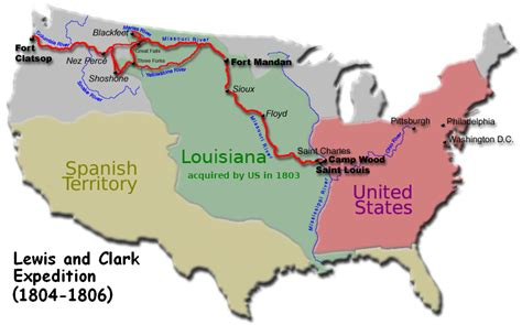 lewis and clark map lewis and clark expedition simple the free encyclopedia