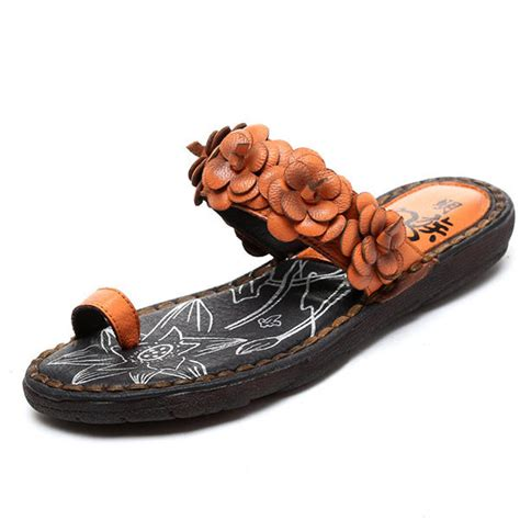 Genuine Leather Flower Flats socofy genuine leather flower flats slippers at banggood