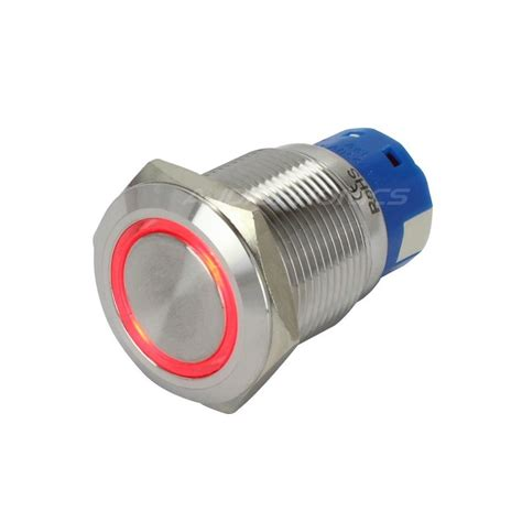 diode led switched bistable inox switch led circle 250v 5a 216 19mm audiophonics