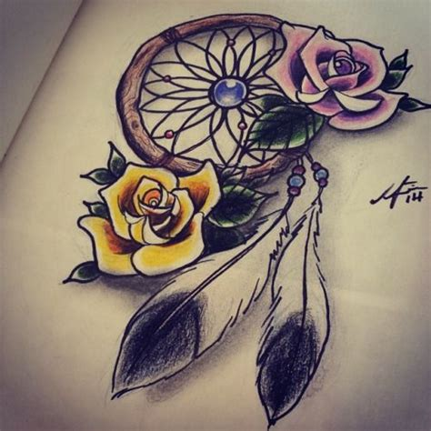dreamcatcher with roses tattoo catcher with roses dreamcatcher roses feathers