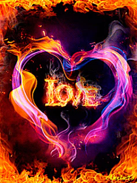 amazing burning hearts gif images  animations