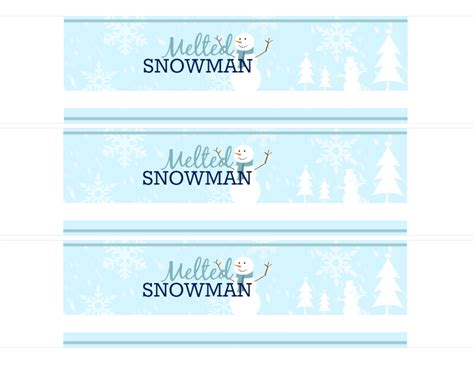 easy diy free printable melted snowman water bottle labels