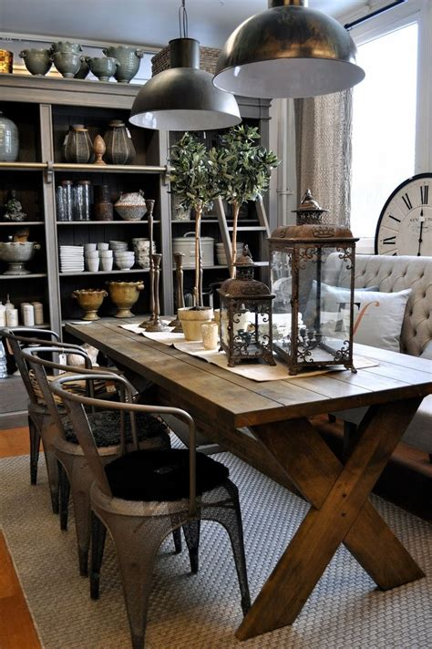 Rustic Dining Room Tables With Bench Loving This Dining Room The Rustic Table Metal Chairs And Upholstered Bench Home