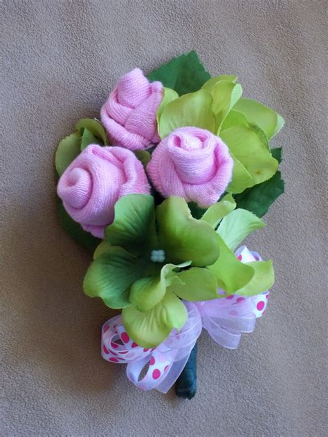 Sock Corsage For Baby Shower by All Snug As A Bug Baby Sock Corsage