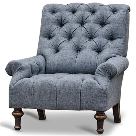 Charcoal Grey Armchair by Donata Modern Classic Tufted Charcoal Grey Linen Armchair