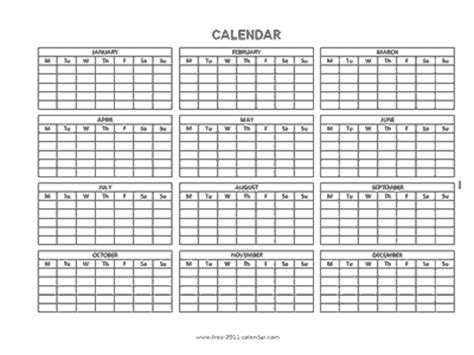 blank yearly calendar grid blank 12 month calendar template 2014