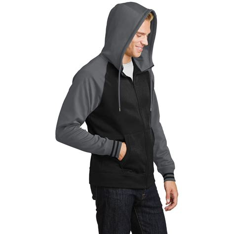 Jaket Zip Farsity Black sport tek st236 sport wick varsity fleece zip hooded jacket black smoke grey