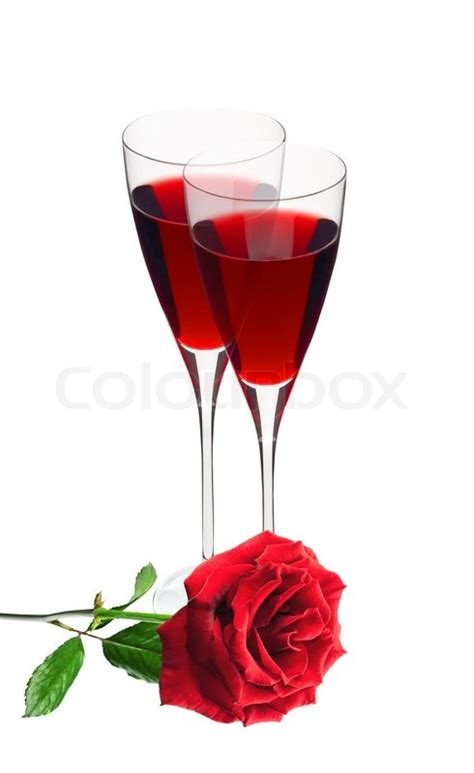 white and red rose wine glass two glass with red wine and red rose isolated on white