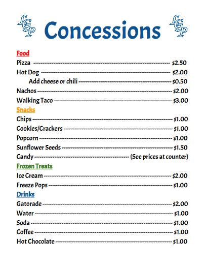 concession stand menu template concession prices concession stand