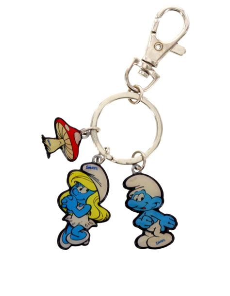 smurf 3 charm keychain keychains carabiners