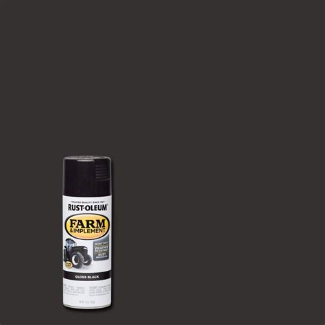 rust oleum 12 oz farm and implement gloss black spray paint of 6 280123 the home depot