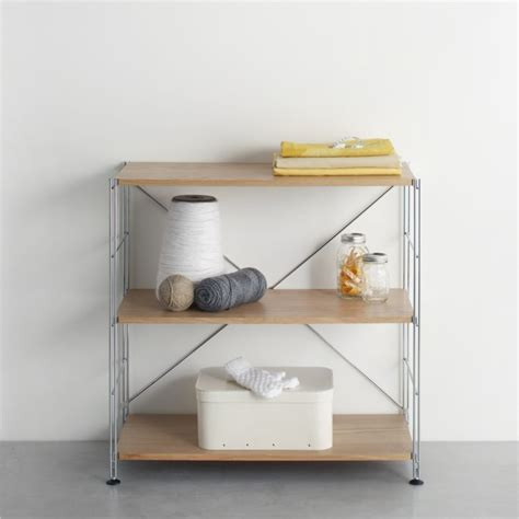 max chrome 3 shelf unit with wood shelves crate and barrel