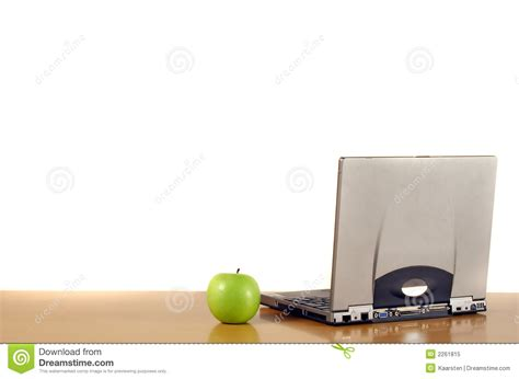 Apple Desk Computer Laptop And Apple On Desk Royalty Free Stock Photo Image 2261815