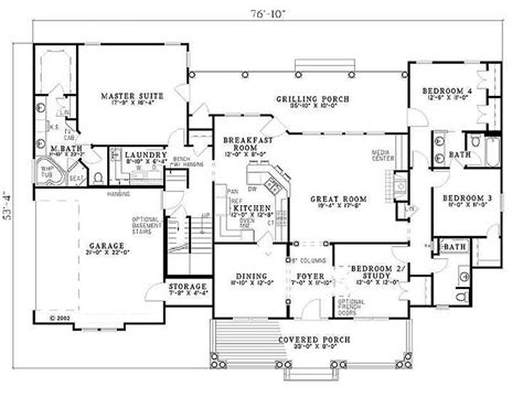 southern style floor plans southern style house plan 4 beds 3 baths 2373 sq ft plan 17 2149 floor plan houseplans
