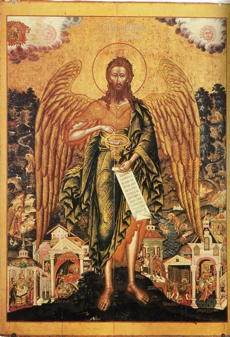 why is st a why does the baptist wings in orthodox icons