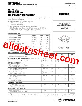 326 transistor datasheet mrf326 fiche technique pdf motorola inc