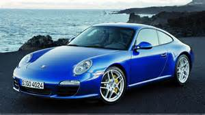 Blue Porsche Porsche 911 S In Blue Near Sea Side Wallpaper