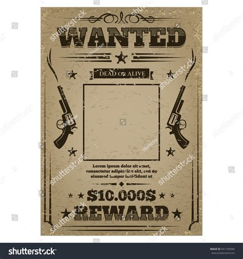 Criminals Play Essay by Wanted Poster Texture Template Work Stock Vector 651105940