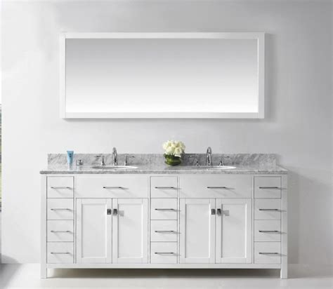 white bathroom vanity mirror rectangle white stained wooden wall mirror above double