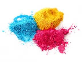 colored powder chalk color chalk powder cyan magenta yellow isolated on white