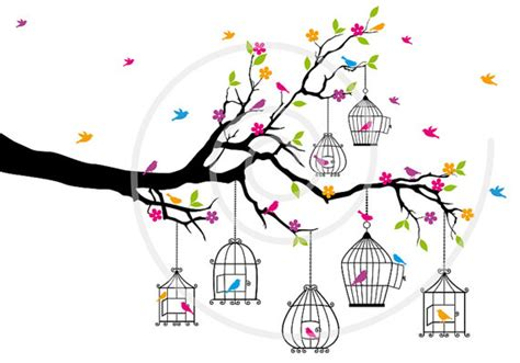 Birdcage Wall Art Stickers tree branch with birds and birdcages digital clip art