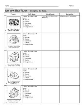 identify types of rocks worksheet worksheets