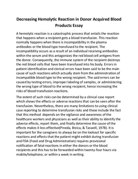 Blood Donation Essay by Exle About Essay On Blood Donation