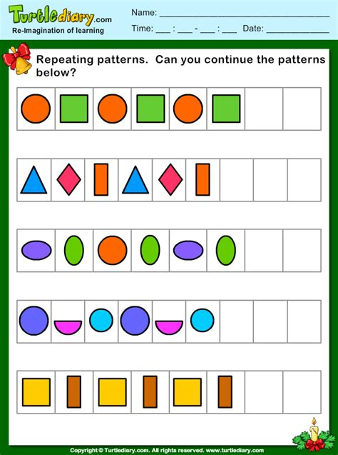 pattern worksheets for reception free worksheets 187 repeating pattern worksheets year 1