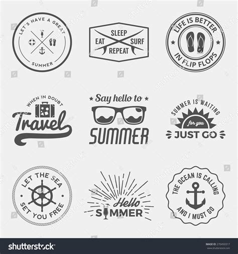 design elements quotes vector set of summer quotes emblems and design elements