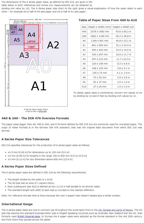 How To Make A3 Paper With A4 - dimensions of quot a quot paper sizes a0 a1 a2 a3 a4 a5 a6