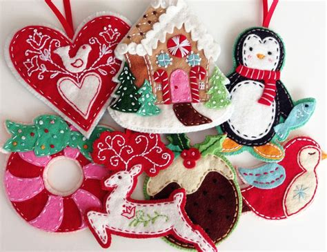 felt christmas ornaments pdf pattern embroidered ebook