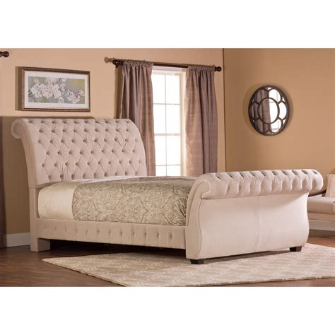 upholstered tufted sleigh bed hillsdale bombay tufted upholstered sleigh bed beds at