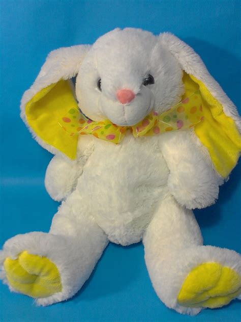 Yellow Rabbit Polkadot excite white bunny rabbit plush yellow ears pink