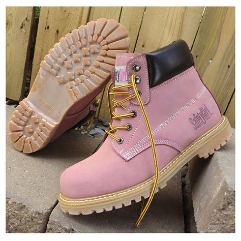 pink steel toe boots safety steel toe work boots light pink