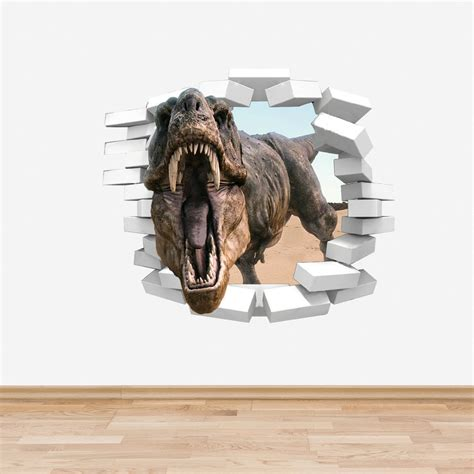 3d Stickers For Walls trex dinosaur wall decal coming through wall sticker boys